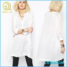 Latest fashion design women long style white plaid tops pretty sheer fabric oversized caftan shirt