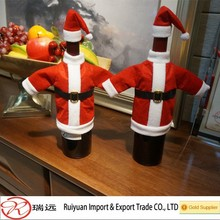 Happy exquisite santa costume shaped bottle cover for Christmas decoration