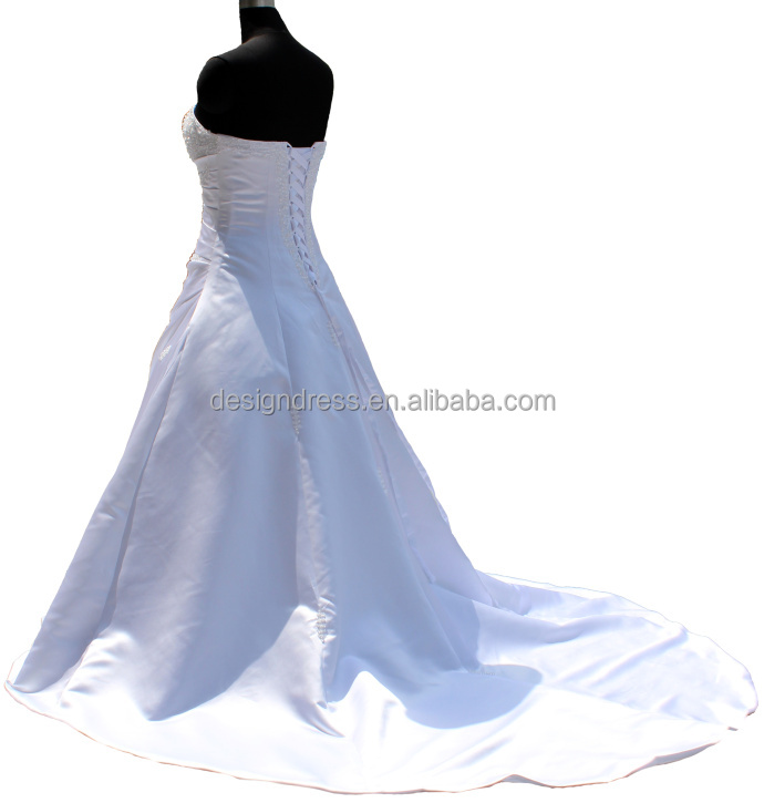 FairOnly In Stock Hot Style Sleeveless Heavy Beaded Chapel White Ivory Wedding Dress Bridal Gown