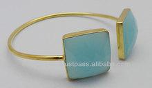 Ajuste de bisel pulseras de plata, moderna de plata pulseras de oro plateado