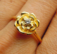 Rose Ring in Solid Sterling Silver w Yellow plated All Size (1 to 16)