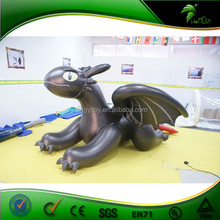 2015 Hot Sale Low Price Inflatable Black Dragon Cartoon With Cool Wing On Sale
