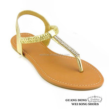 2015 top quality best price ankle elastic flat t strap thong sexy lady sandal crystal rhinestones sandals