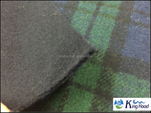10% wool/ 90% blend, BRUSHED DOUBLE FACE WOOL PLAID fabric for garment