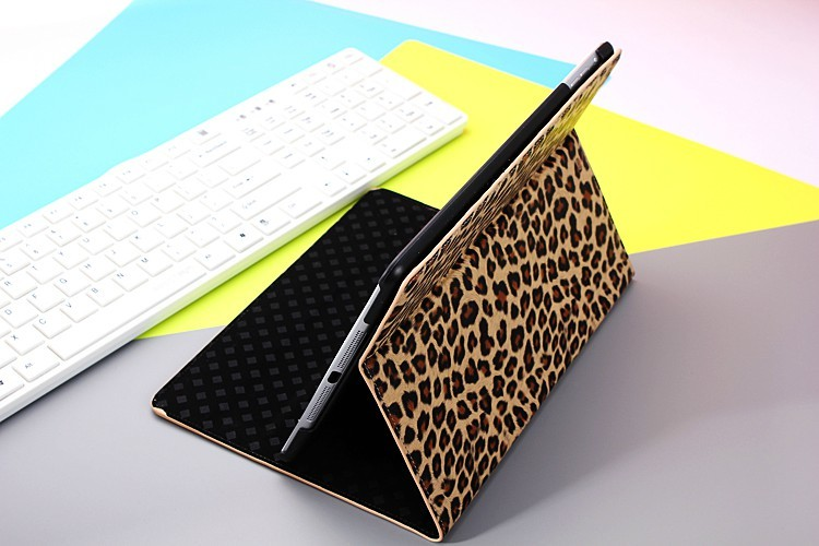 HOT SELLING!!!Luxury leopard PU Leather case cover for ipad air 5