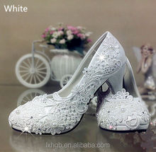 Lace white ivory crystal Wedding shoes Bridal flats low high heel pump