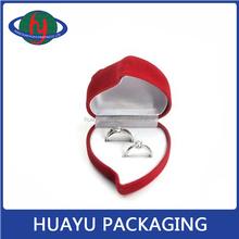 Charming flocking red rose ring box velvet,customized proposal ring box