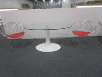 New arrival oval glass top fiberglass base dining table
