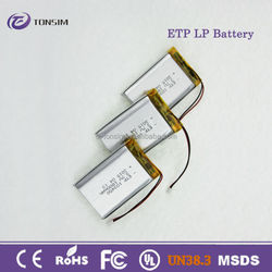 rechargeable 3.7V 1800mAh ultra thin battery, high capacity lithium polymer battery for audio