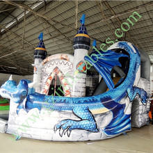 {Qi Ling}0.55mm pvc tarpaulin new design and het selling dragon inflatable bouncers air combo for kids back yard game rental