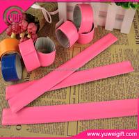 pvc reflective outside and metal inside Material reflex slap wraps slap bracelet