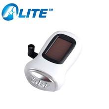 Hand crank emergency Dynamo Solar 3 LED Hand Rechargeable Flashlight