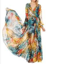Women evening dress tropical flower printed chiffon dress party elegant vestido de festa gowns JH-DR-702