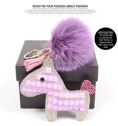 Personalized Customized Leather tassle Fox fur ball keychain