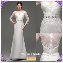 Fashion sweetheart neckline long sleeves woman muslim wedding dress SQ30244