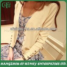 Ladies thin basic short cardigan button knit wear