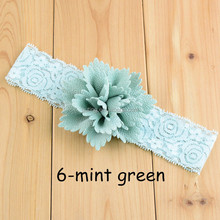 Wholesale crochet fabric flower lace elastic chiffon baby headbands hair accessories