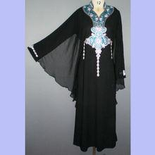 Butterfly sleeve beautiful beaded embroidery black women dubai abaya MT-1012