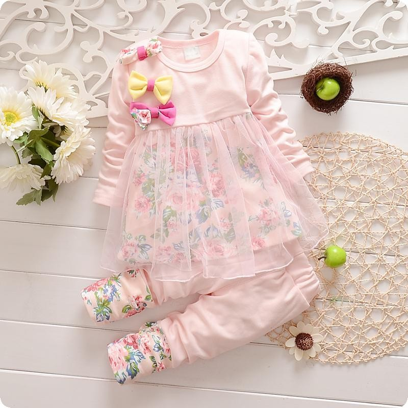 2014 retail Kids T-Shirt, Long Sleeve Lace Tops+Leggings Pants, baby girls clothing sets baby dress kids clothes free shipping