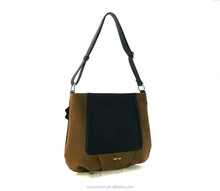 slim zip top nubuck ladies shoulder bag