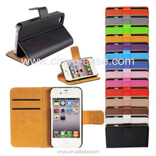 for iphone 4 case with credit cards slots holder, for iphone 4 leather flip plain pu case cover, for iphone 4 wallet case