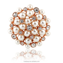 [BH029] 2015 hot-sale Fashion lady jewelry wholesale ,Round Bead flower style fashion brooch pin with crystals imitaion pearls