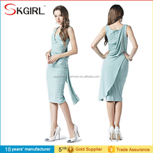 OEM Hot Sexy Lady Women Sleeveless Ruched Bodycon V Neck Knee Length Party Dresses China
