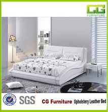 2015 high quality bedroom furniture leather upholstered bed double white pu bed