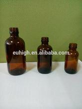 30ml 60ml 120ml ronda de botella de vidrio ámbar para el mensaje con aceite de tornillo de la parte superior