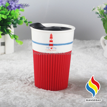 Wholesale Ceramic Coffee Mug With Turn Off Button Lid