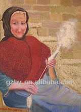 Original Oil Painting on Canvas, Spinning Wool in Rural Crete, Greece