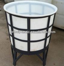 Floding plastic water barrel metal frame