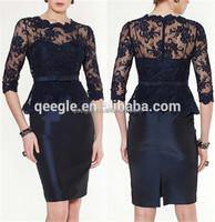 Boutique dresses knee length lace evening dress black lace girls frocks design dresses