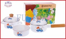 1416D Baby Child Food Kitchenware Children Enamel Eco-friendly 6 pcs Milk Sauce pan/mini pot/storage bowl Full Set