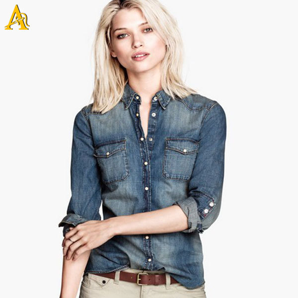 Chambray Denim Shirt Womens