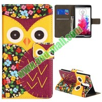 Cute Owl Pattern Foldable Magnetic Flip Stand Leather Case for LG G3 D850 LS990
