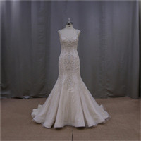 traditional fishtail sexy beaded white backless wedding dress 2013