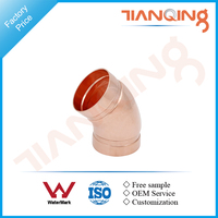 T201 Factory price pipe fitting grooved copper 45 elbow
