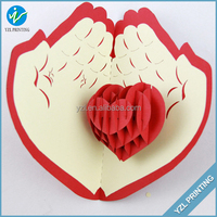 Delicate heart shaped hollow stand red wedding invitation card