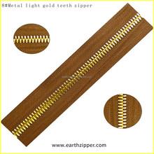 Metal light gold brass zipper