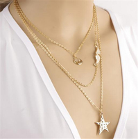 Simple design star angel wing multi-layer chain necklace