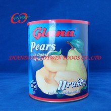Hot sale Brand canned food supplier, canned pear halves in light syrup