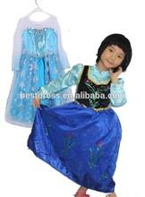 China 2014 bestdress baratos al por mayor de ropa de niños anna congelado vestido de princesa 100-140cm