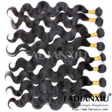 wavy original natural black hair clip in virgin brazilian body wave hair