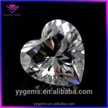 shining artificial heart white cz loose diamond crown wholesale