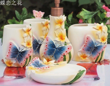 hand paint butterfly flower bathroom set for hotel, home