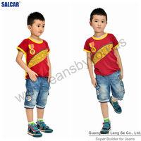 Wholesale Portuguese d Jeans Supplier Stylish Children Cropped Jeans Pants Kids Pleated Elastic Hem Denim Trousers (LSCPD7004-1)