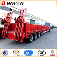 3 axles 80ton low flat bed trailer for sale with ramps and side walls
