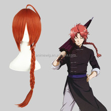 High Quality 55cm Medium Long Straight Gin Tama- kamui Orange Synthetic Anime Wig Cosplay Costume Hair Wig Party Wig