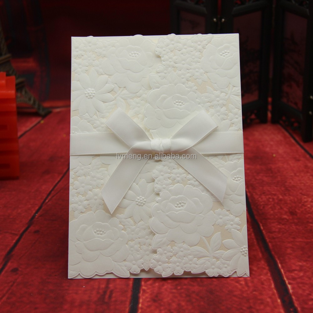Flower Embossed Glass Wedding Invitation Card/place Card Holder ...